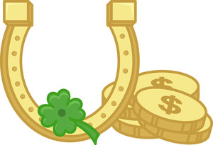 Gold Shoe Horse, Coins And Clover Leaf On St. Patrick's Day