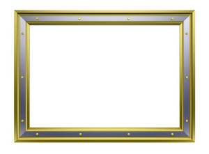 Gold-silver Frame Isolated On White Background