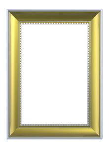 Gold-silver Rectangular Frame Isolated On White Background.