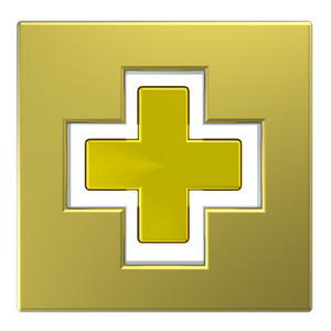 Gold Square With Cross Isolated On White