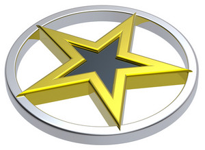 Gold Star In A Chrome Circle