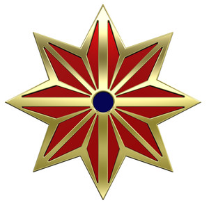 Gold Star With Red.