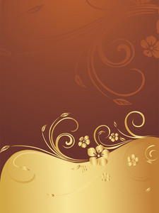 Golden And Brown Floral Background
