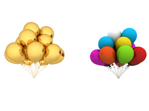 Golden And Colored Balloons