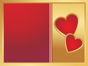 Golden And Red Frame With Two Heart