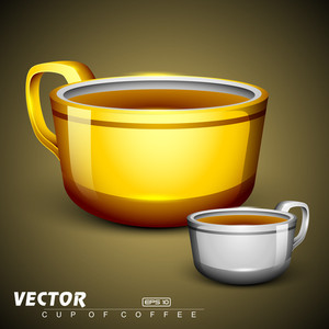 Golden And Silver Coffee Cup. Eps 10