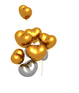 Golden And Silver Heart Balloons