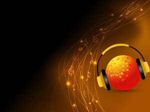 Golden balll with headphone on shiny brown background.