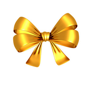 Golden Bow 3d Render