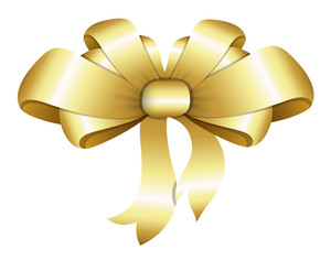Golden Bow - Christmas Vector Illustration