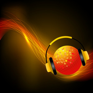 Golden christmas ball and headphone on brown waves background.