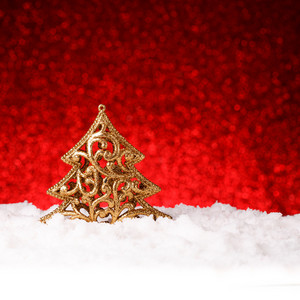 Golden christmas fir tree decoration