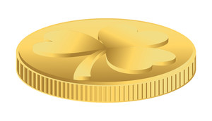 Golden Clover Leaf Coin