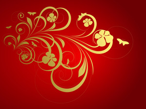 Golden Floral Christmas Background