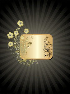 Golden Floral Frame Isolated On Black