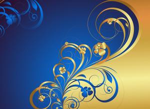 Golden Floral Greeting Background