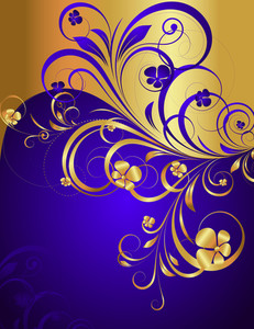 Golden Floral Greeting Background
