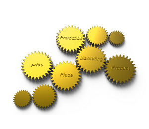 Golden Gear With Marketing Diagram