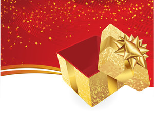 Golden Gift Box. Vector Background.