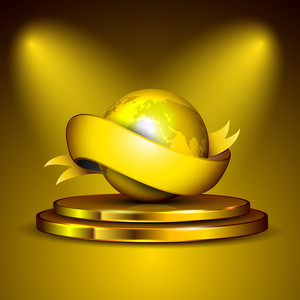 Golden Globe And Ribbon On Golden Stage. Eps 10