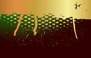 Golden Grunge Halftone Paint Dripping Background