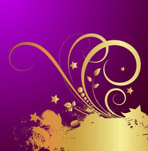 Golden Grunge Swirl Background