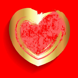 Golden Grunge Valentine Heart