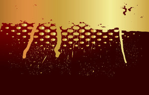 Golden Halftone Grunge Paint Dripping