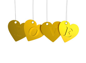 Golden Hearts Love Tags