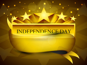 Golden Label Of Independence Day With Ribbon.