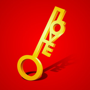 Golden Love Key On Red Background