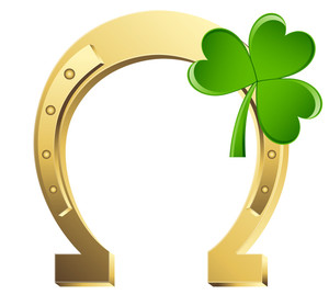 Golden Magnet Horseshoe With Clover Leaf Vector