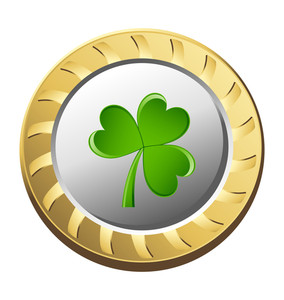 Golden Metallic Coin With Shamrock