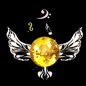 Golden musical ball and wings on black abstract background.