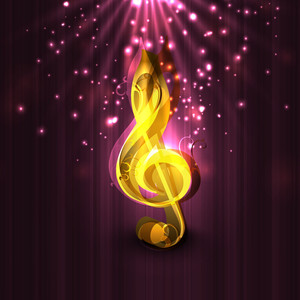 Golden Musical Note On Abstract Background