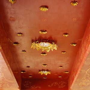 Golden on red thai, Buddha temple ceiling decoration