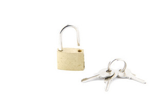 Golden Open Padlock With Keys On White