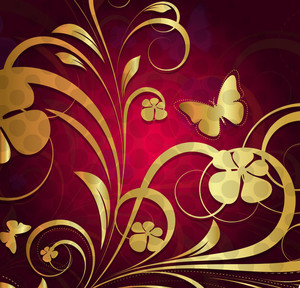 Golden Ornate Flora Background