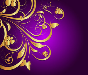 Golden Ornate Flora Texture Background
