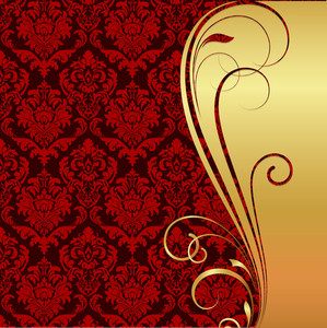 Golden Ornate Flourish Damask Pattern Background