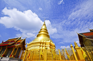 Golden Pagoda at Wat Phra That Hariphunchai , Lamphun Province, Thailand