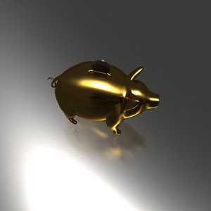Golden Piggy Bank With Coin