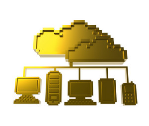 Golden Pixel Cloud Network Icon