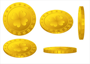 Golden Shamrock Coins Set