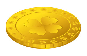 Golden Shamrock Symbol Coin Vector Illustration