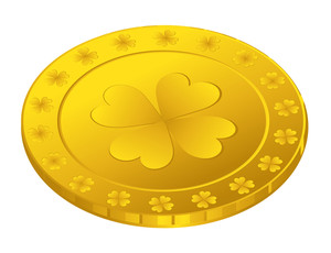 Golden Shamrock Symbol Coin Vector