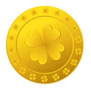 Golden Shamrock Symbol Coin
