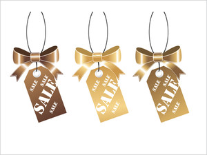Golden Shopping Tag Isolated On White
