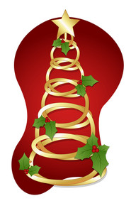 Golden Spiral Tree - Christmas Vector Illustration