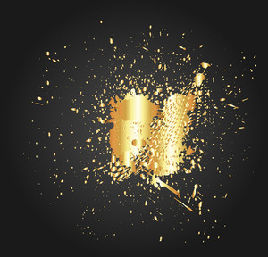 Golden Splash Halftone Vector Background